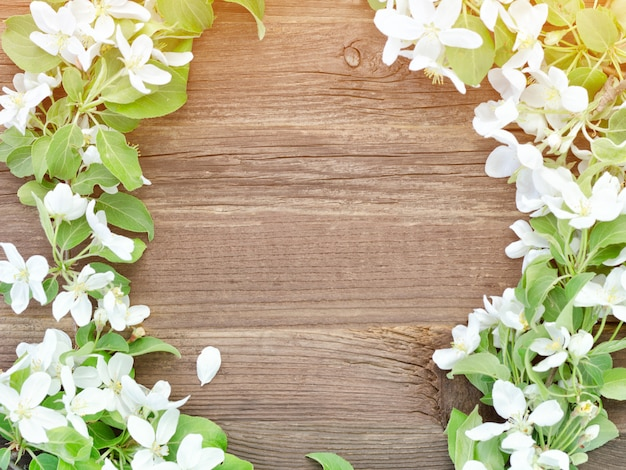 Fondo de madera marrón. flores de manzana en el borde del marco.