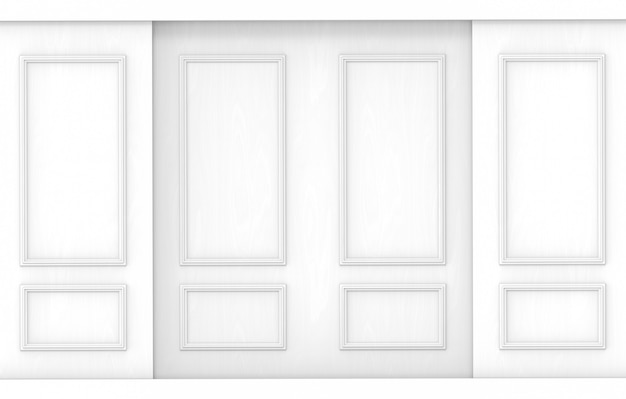 Fondo de madera de la pared del modelo clásico blanco de lujo.
