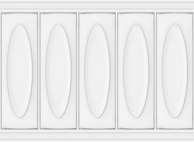 Fondo de madera de la pared del modelo oval clásico blanco de lujo.