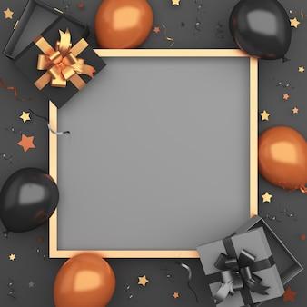 Fondo de maqueta de decoración de venta de viernes negro dorado con caja de regalo de globo de marco, espacio de copia