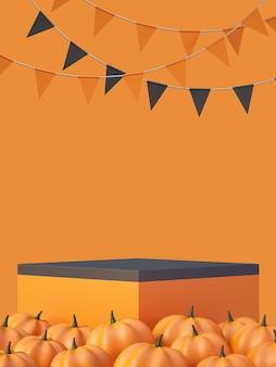 Fondo de maqueta de producto de halloween con pantalla de podio de producto naranja 3d y calabaza, ilustración de render 3d