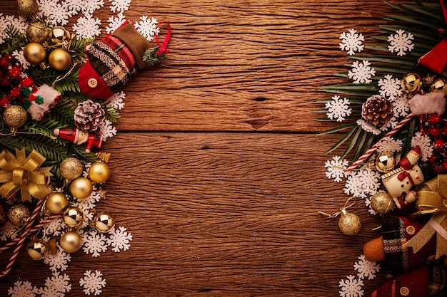 Fondo de marco de celebración de navidad y año nuevo