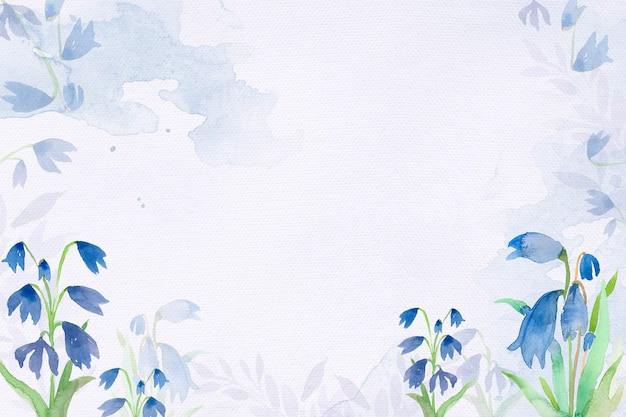 Fondo de marco de flor de scilla temprana en temporada de invierno de acuarela azul