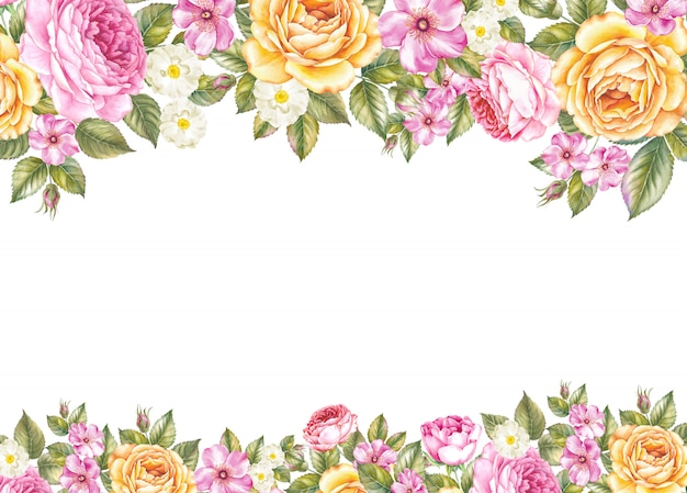 El fondo del marco de flores botánicas
