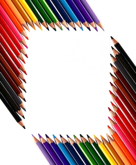 Fondo de marco hecho con lápices de colores de lápices de colores