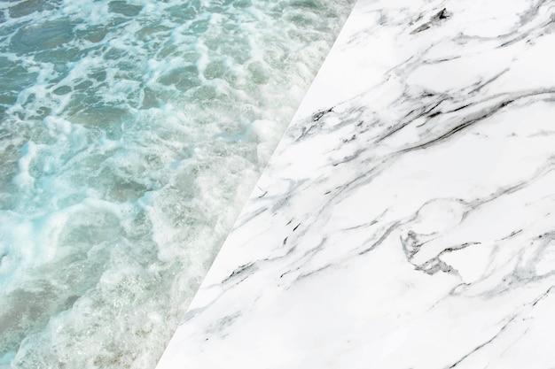 Fondo de mármol y productos marinos.