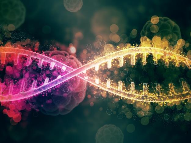 Fondo médico 3d con cadenas de adn abstractas y células de virus desenfocadas