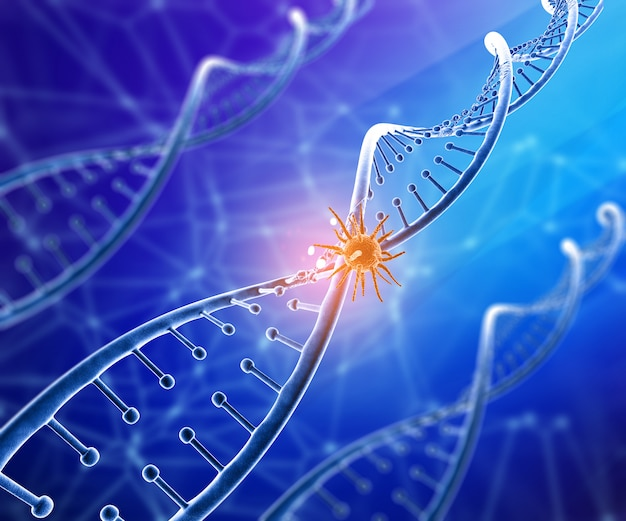 Fondo médico 3d con célula de virus en la hebra de adn