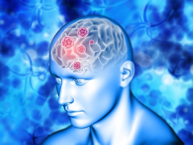 Fondo médico 3d con cerebro resaltado