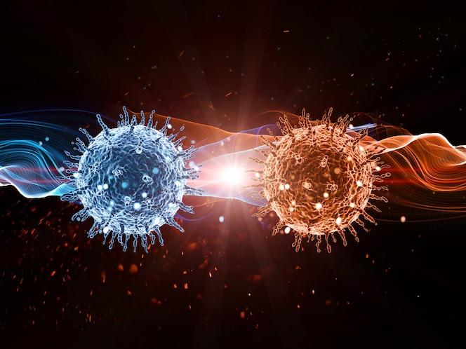 Fondo médico 3d con células de virus abstractas