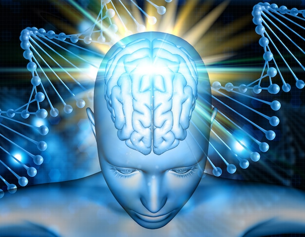 Fondo médico 3d con figura femenina con cerebro resaltado en hebras de adn