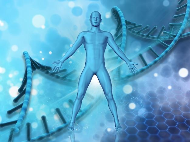 Fondo médico 3d con figura masculina en el fondo de hebras de adn