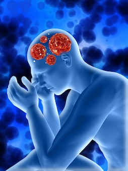 Fondo médico 3d con figura masculina que muestra células de virus en la cabeza