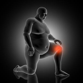 Fondo médico 3d con figura masculina con sobrepeso sosteniendo su rodilla en dolor