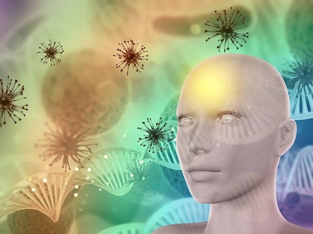Fondo médico abstracto 3d con rostro femenino, células de virus y hebras de adn