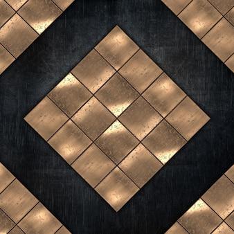 Fondo de metal grunge con placas metálicas doradas