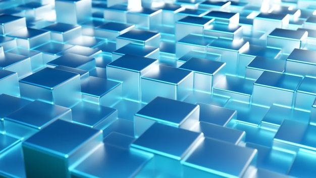 Fondo metálico azul abstracto de cubos. pared de un cubo de metal.