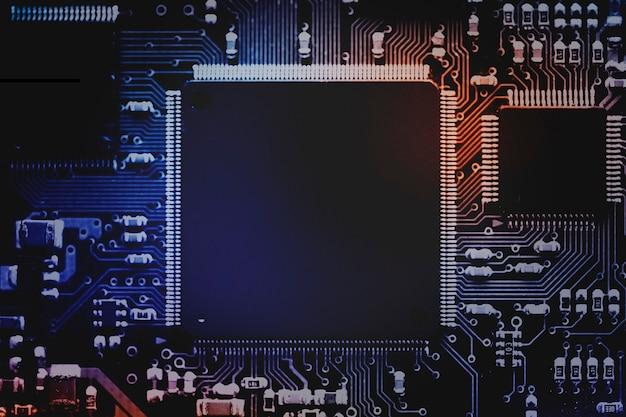 Fondo de microchip inteligente en una tecnología de primer plano de la placa base