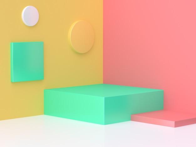 El fondo mínimo 3d de la esquina abstracta colorida rosada de la escena del verde amarillo rinde