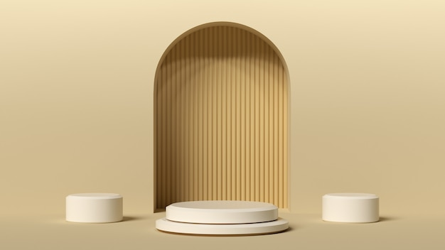 Fondo mínimo, maqueta con podio para exhibición de productos, forma de geometría blanca abstracta