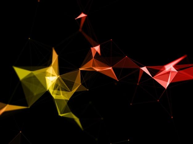 Fondo moderno 3d de bajo poli plexo con tonos naranjas y amarillos