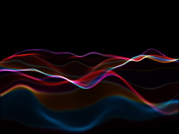 Fondo moderno abstracto 3d con partículas que fluyen