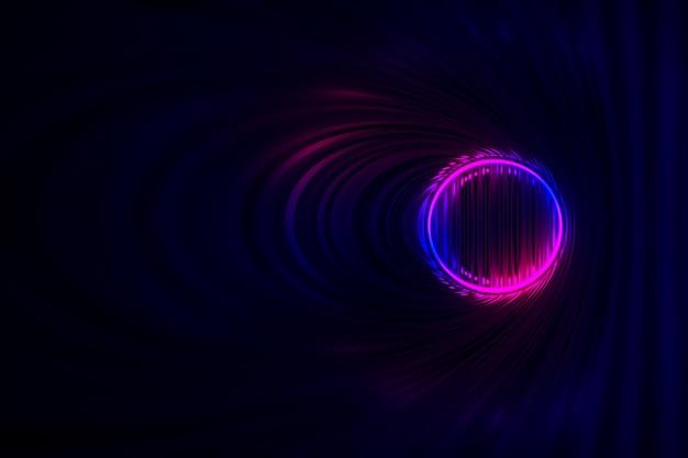 Fondo moderno con iluminación de neón del fantástico túnel oscuro