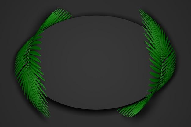 Fondo moderno negro y verde oscuro abstracto del marco ovalado rodeado por dos hojas de palma mullidas redondeadas. ilustración 3d. render 3d