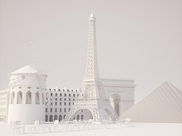Fondo de monumentos de parís. representación 3d de alta calidad