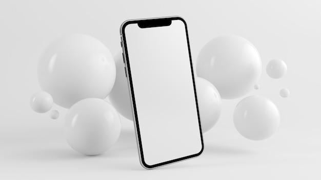 Fondo móvil mínimo con representación 3d de esferas flotantes