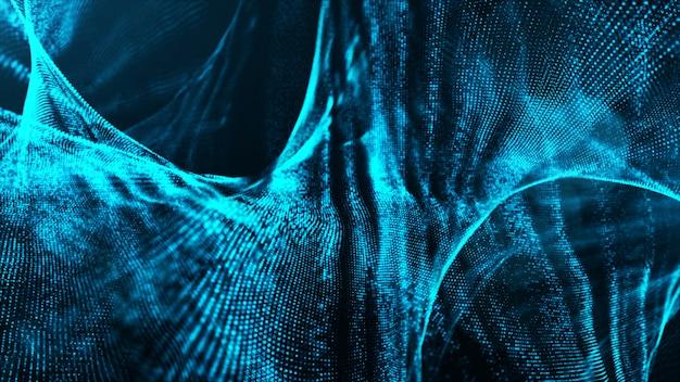 Fondo de movimiento de onda de partículas de color digital azul