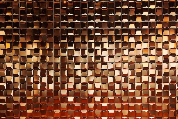 Fondo de muchos cubos pequeños, celdas de color dorado brillante