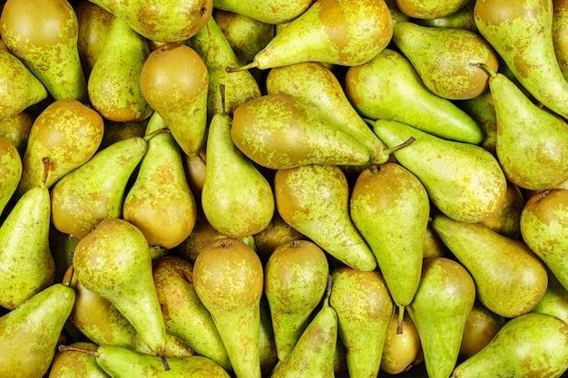 Fondo de muchos trozos de peras verdes