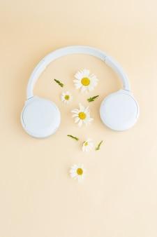 Fondo de música o podcast con auriculares y flores de manzanilla margarita podcast de verano