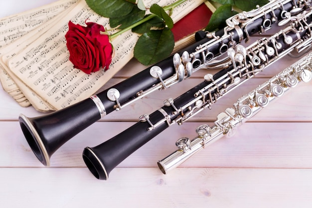 Fondo musical, cartel - oboe, clarinete, flauta, rosa, orquesta sinfónica.