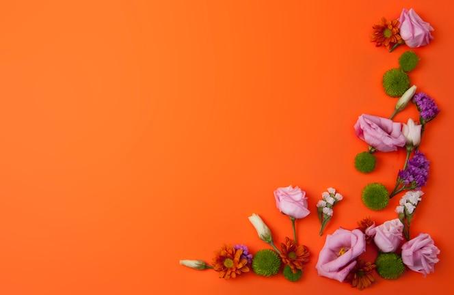 Fondo naranja con hermosas flores