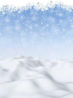 Fondo de navidad 3d con escena nevada