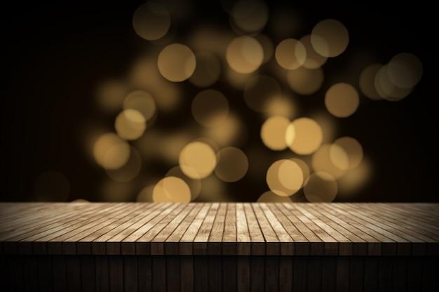 Fondo de navidad 3d con mesa de madera con luces bokeh