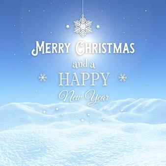 Fondo de navidad 3d con paisaje nevado con texto decorativo