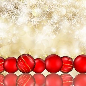 Fondo de navidad de adornos sobre copos de nieve cayendo
