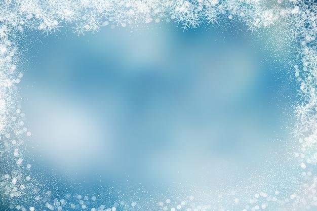 Fondo de navidad con borde cubierto de nieve
