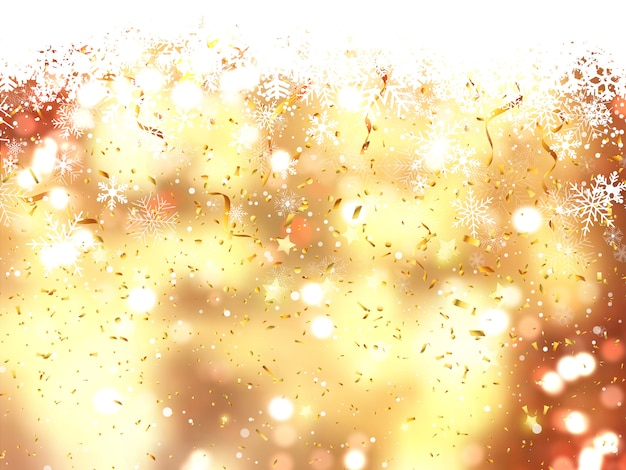 Fondo de navidad de copos de nieve cayendo y confeti
