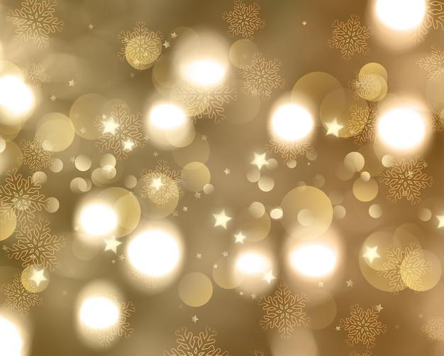 Fondo de navidad de copos de nieve y estrellas