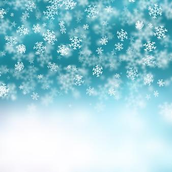 Fondo de la navidad de  copos de nieve y estrellas
