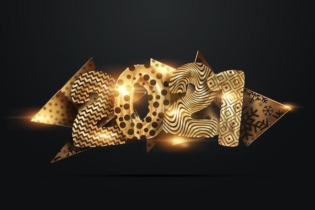 Fondo de navidad creativo, inscripción 2021 de bolas doradas sobre un fondo oscuro.