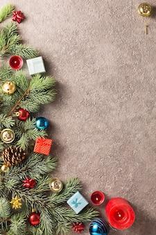 Fondo de navidad con decoración de árbol de navidad