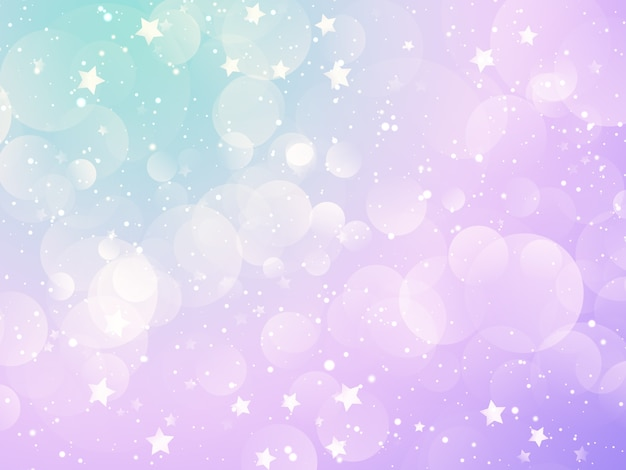 Fondo de navidad con diseño de estrellas y luces bokeh pastel