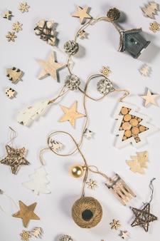 Fondo de navidad diseño plano creativo y composición de la vista superior