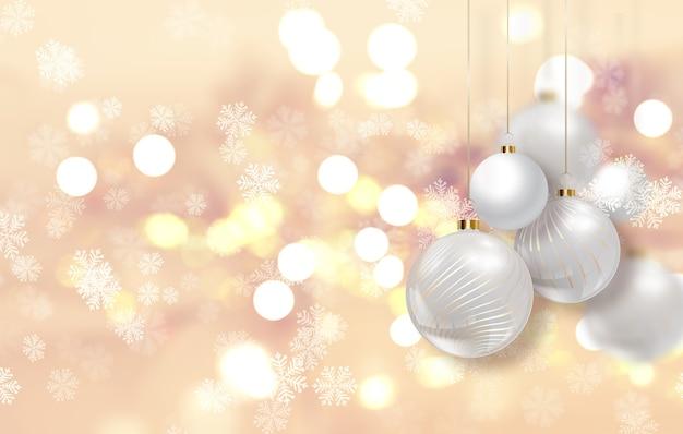 Fondo de navidad dorado con adornos colgantes