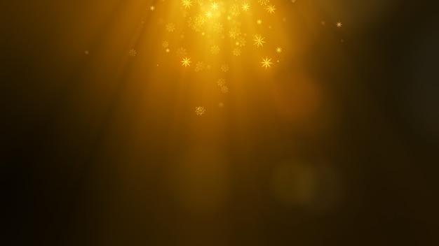Fondo de navidad dorado con partículas de copos de nieve voladores